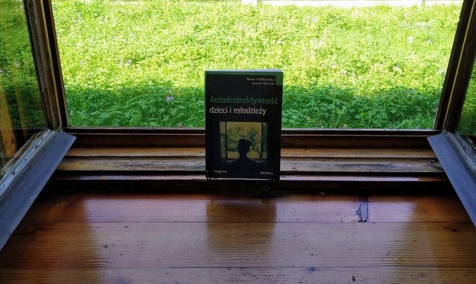 """Na tle otwartego okna okładka książki """" Autodestruktywność dzieci i młodzieży""""."""