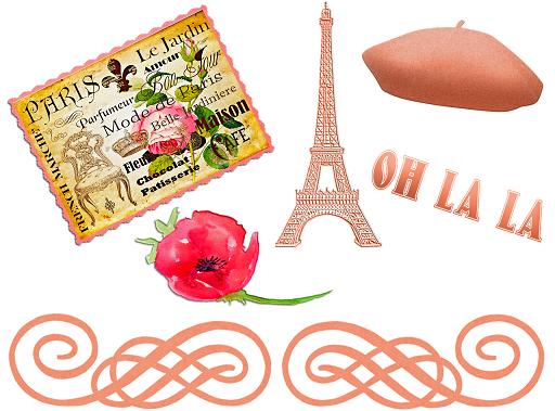 kartka pocztowa, a na niej wieża Eiffla, beret, kwiat,  stary znaczek pocztowy i napis oh la la