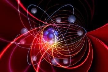 grafika w kolorze czarno-czerwonym - spiralne linie i niebieskie punkty